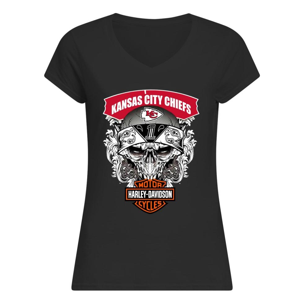 Skull Kansas City Chiefs Harley Davidson Motor Cycles V-neck T-shirt