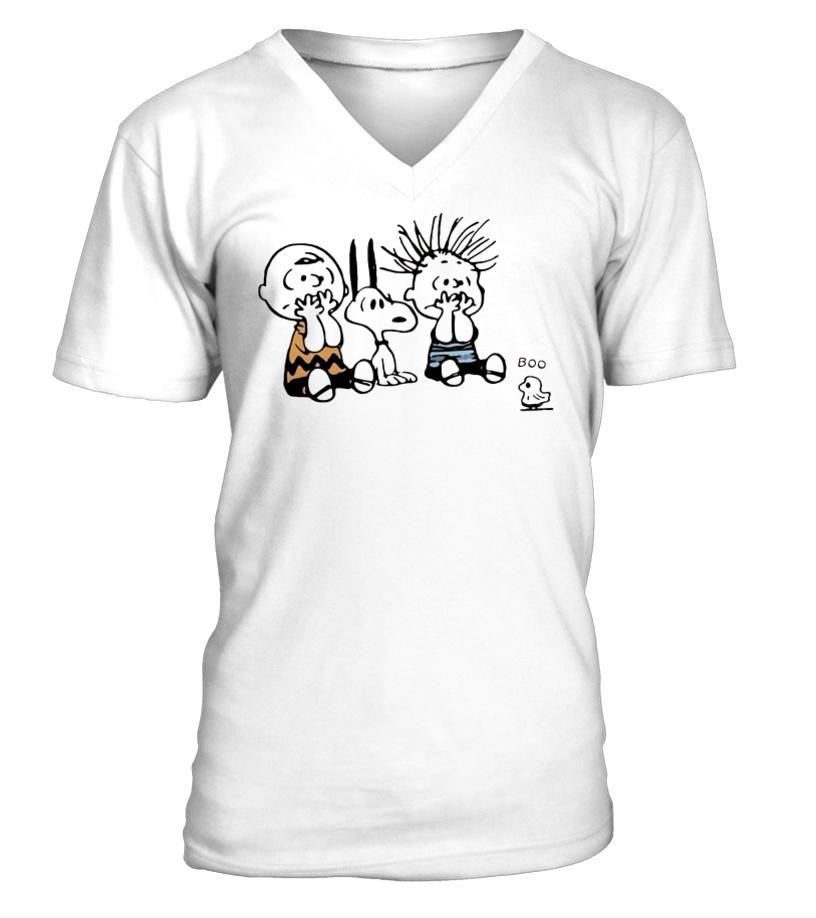 Snoopy and Charlie Brown Boo ghost V-neck T-shirt