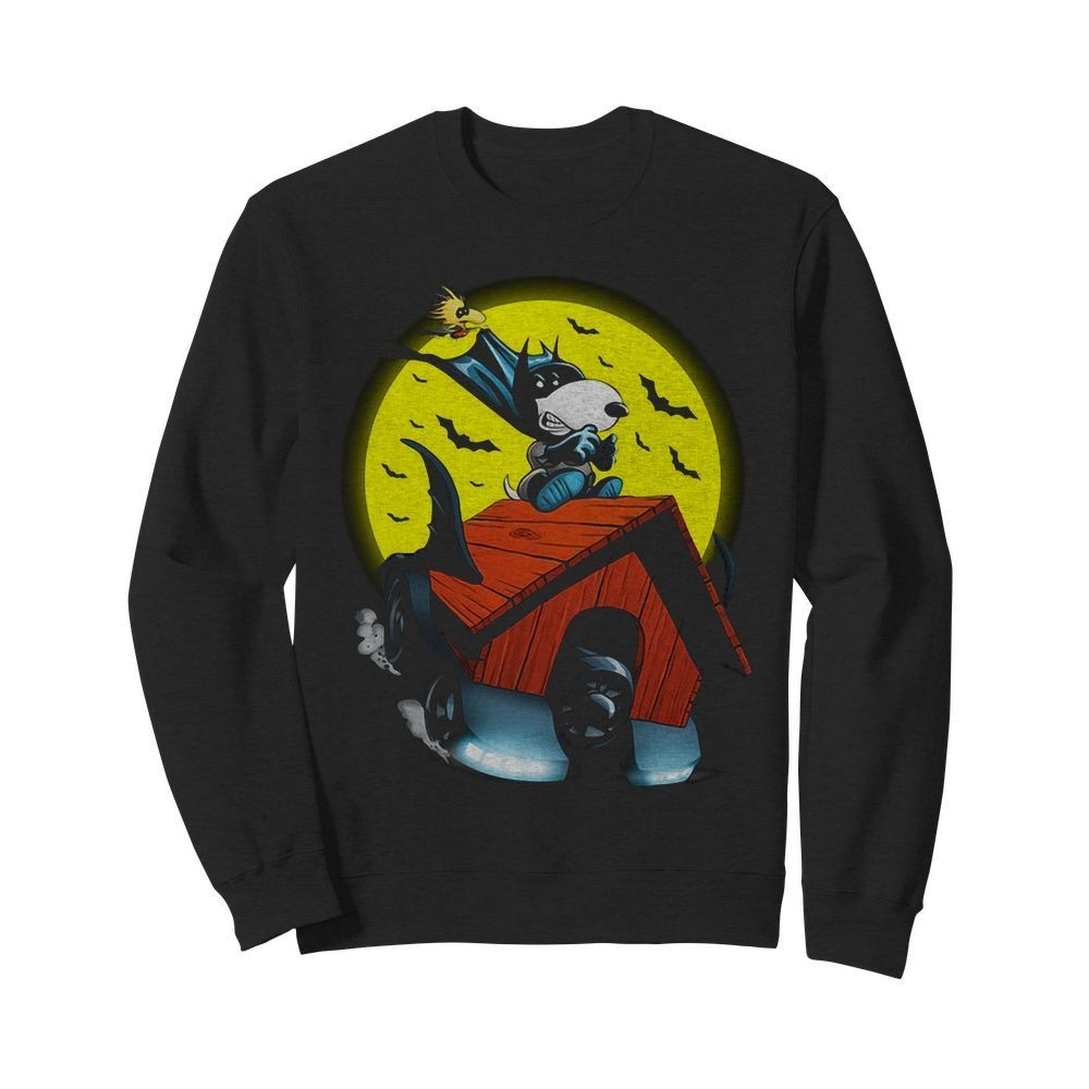 Snoopy and Woodstock Batman flying house Sweater