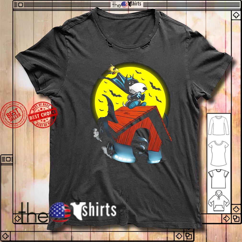 Snoopy and Woodstock Batman flying house shirt
