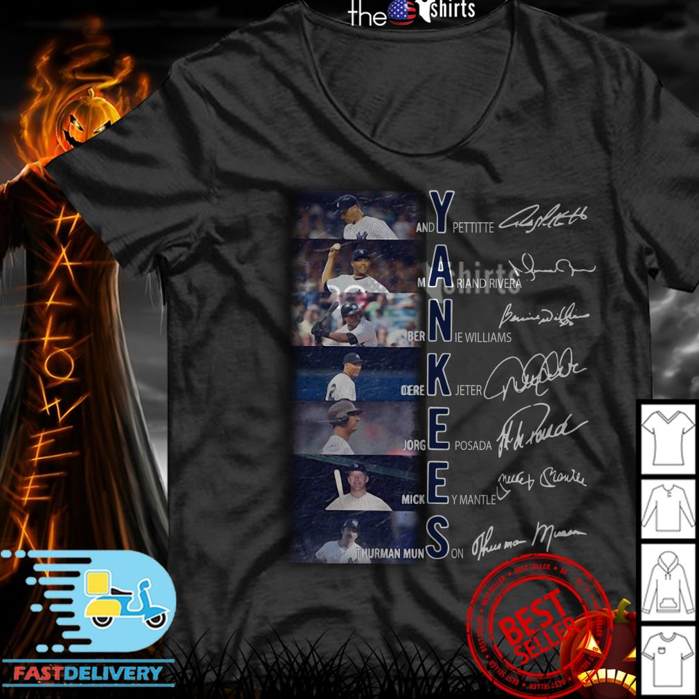 best cheap 6934c 203b6 Yankees Andy Pettitte Mariano Rivera Bernie Williams Derek Jeter signatures  shirt