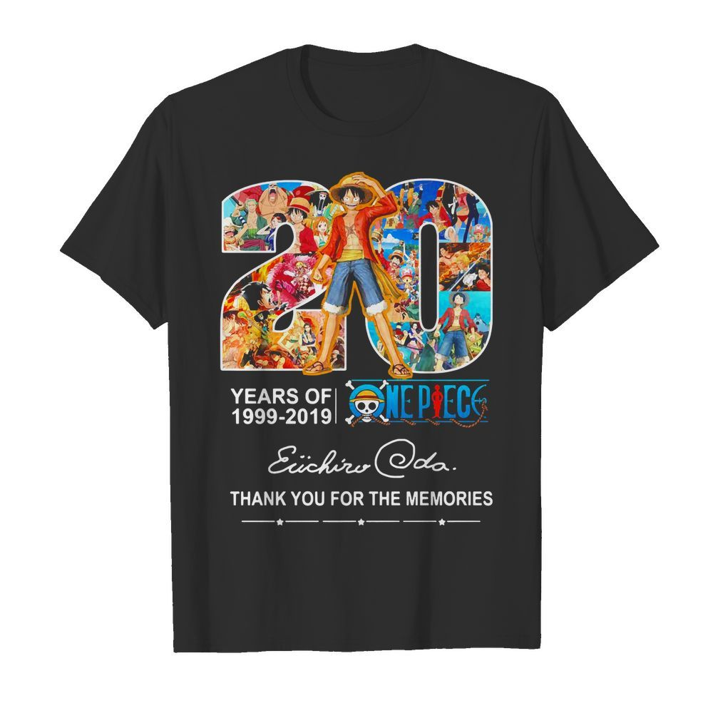 20 years of One Piece 1999-2019 thank you for the memories Shirt