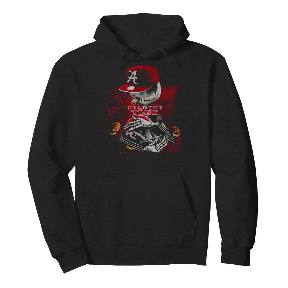 Jack skellington smoking fear the Alabama Crimson Tide Hoodie