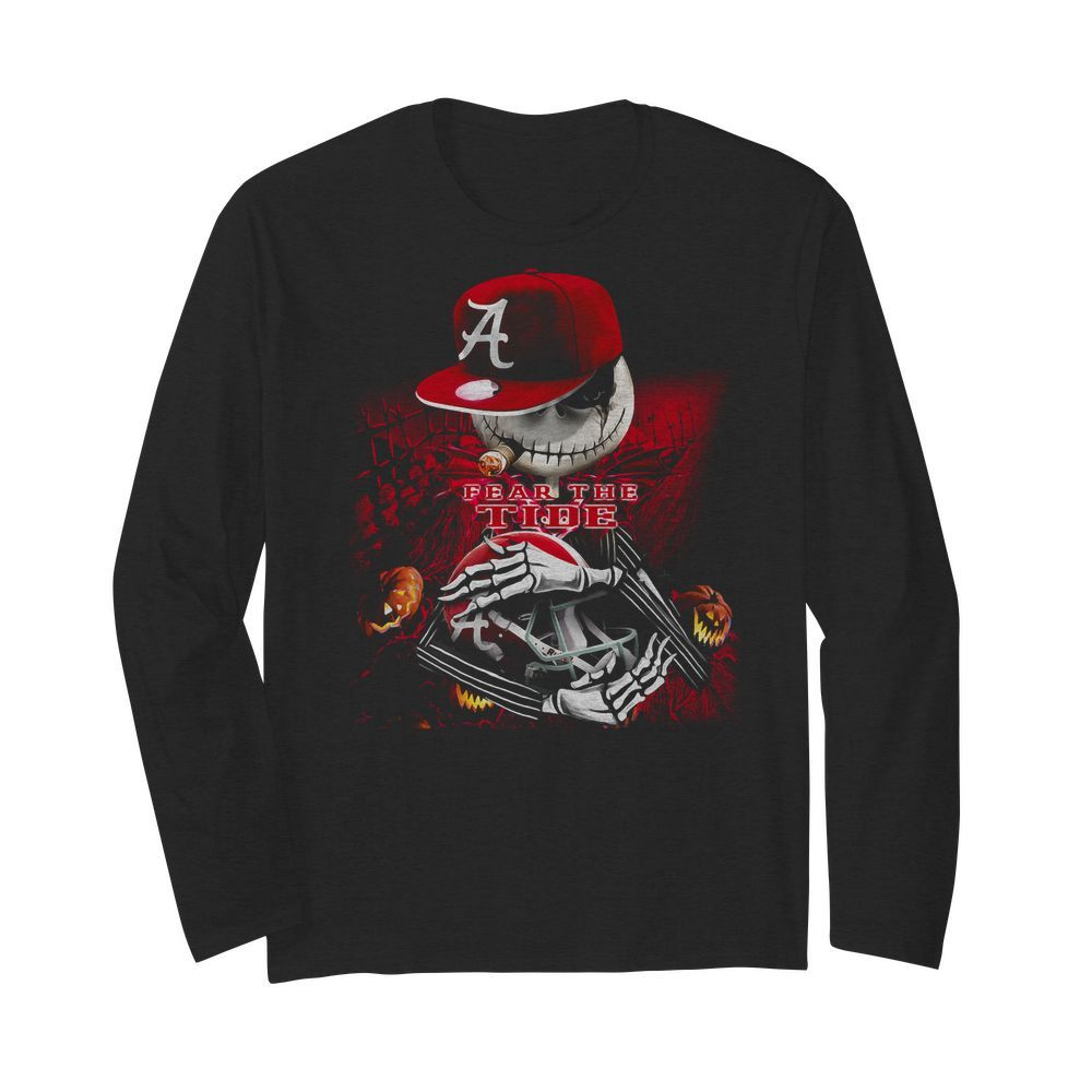 Jack skellington smoking fear the Alabama Crimson Tide Sweater