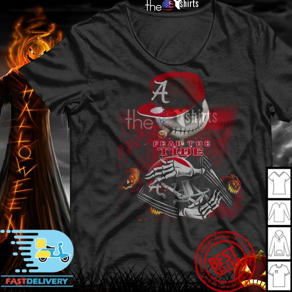 Jack skellington smoking fear the Alabama Crimson Tide shirt