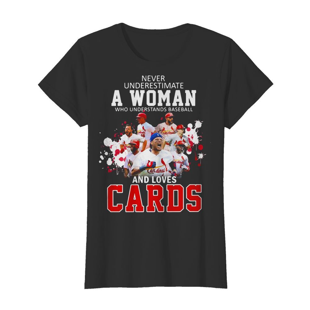 Never underestimate a woman who understands Baseball and loves Cards V neck t shirt