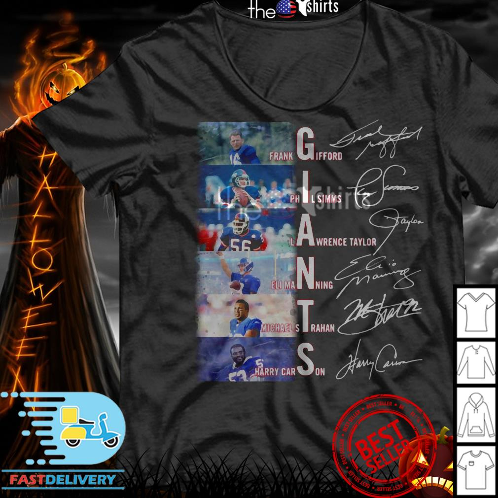 New York Giants Frank Gifford Phil Simms Lawrence Taylor signatures shirt