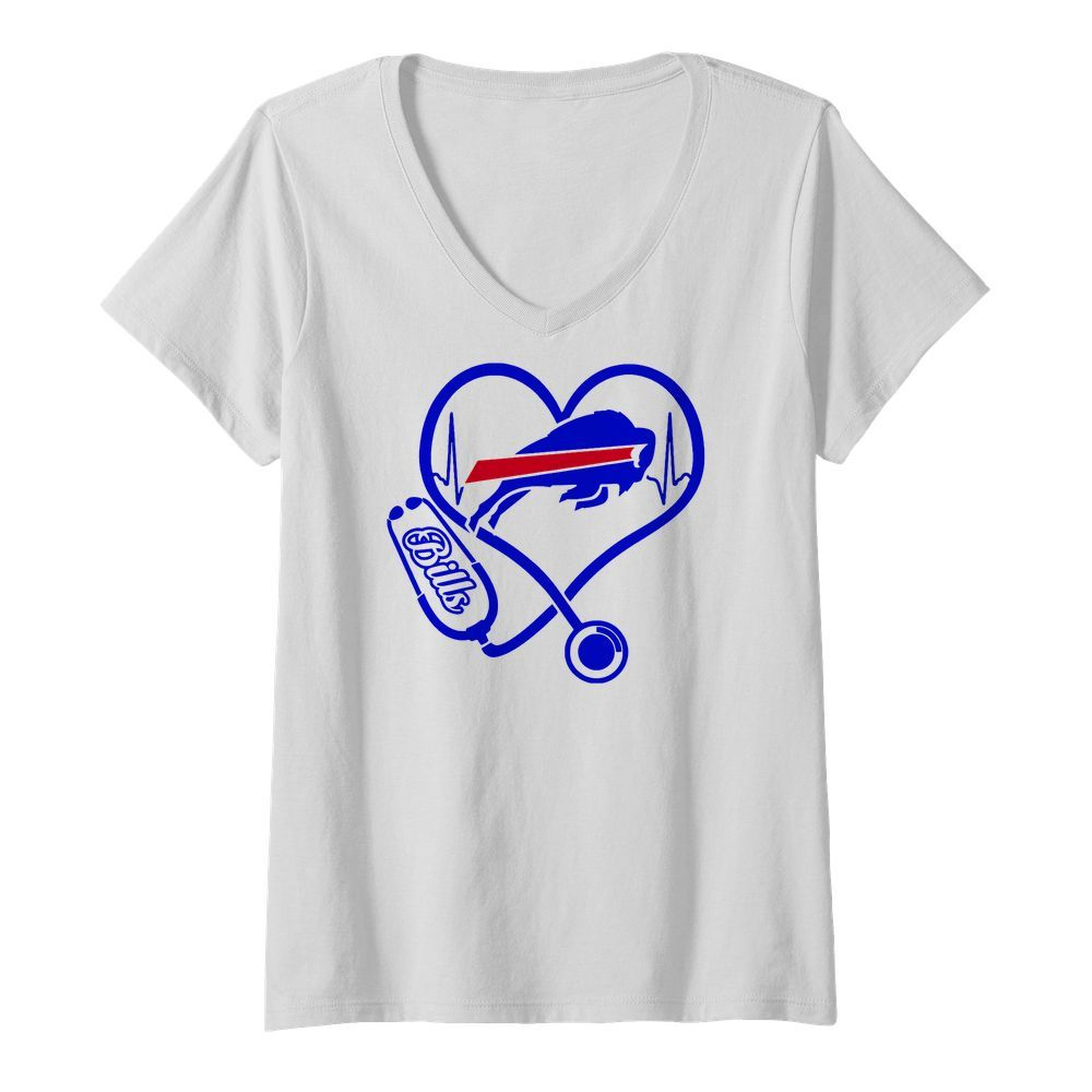Nurse Heart Buffalo Bills V neck t shirt