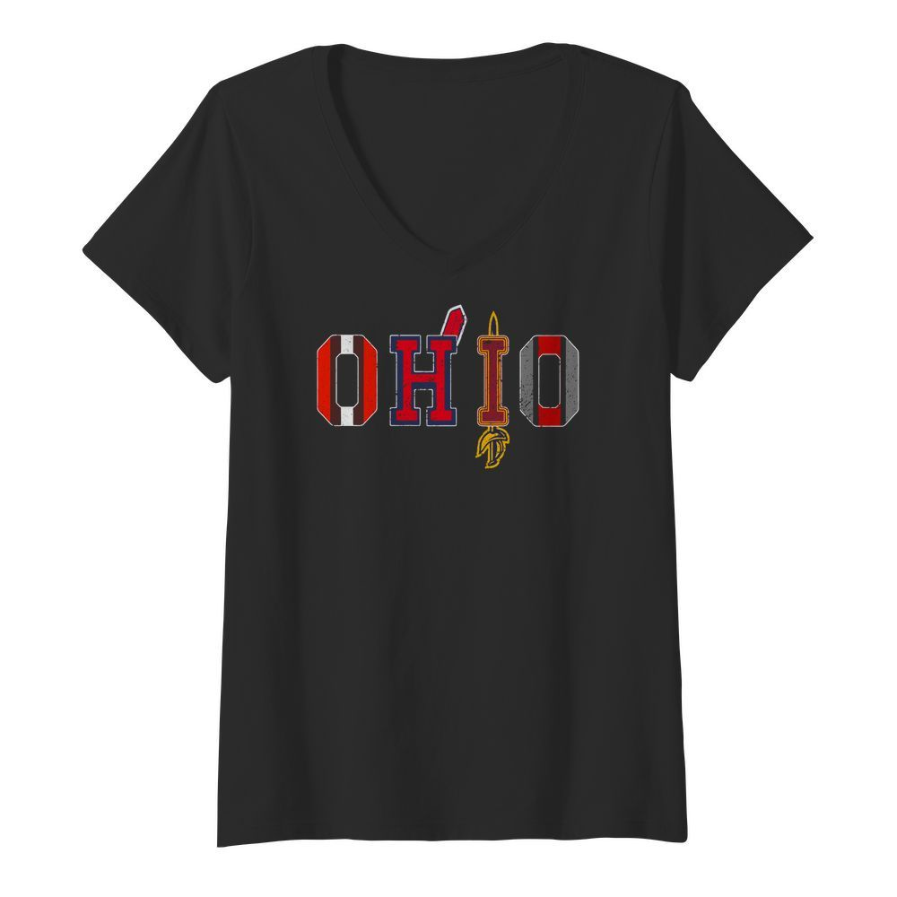 Ohio Teams Cleveland Browns Indians Cavaliers Ohio State V neck t shirt