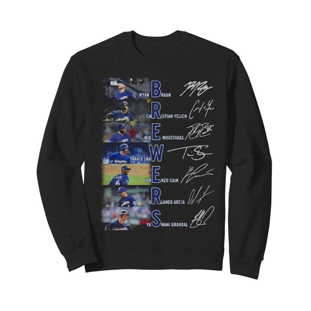 Ryan Braun Christian Yelich Mike Moustakas Travis Shaw signatures Sweater