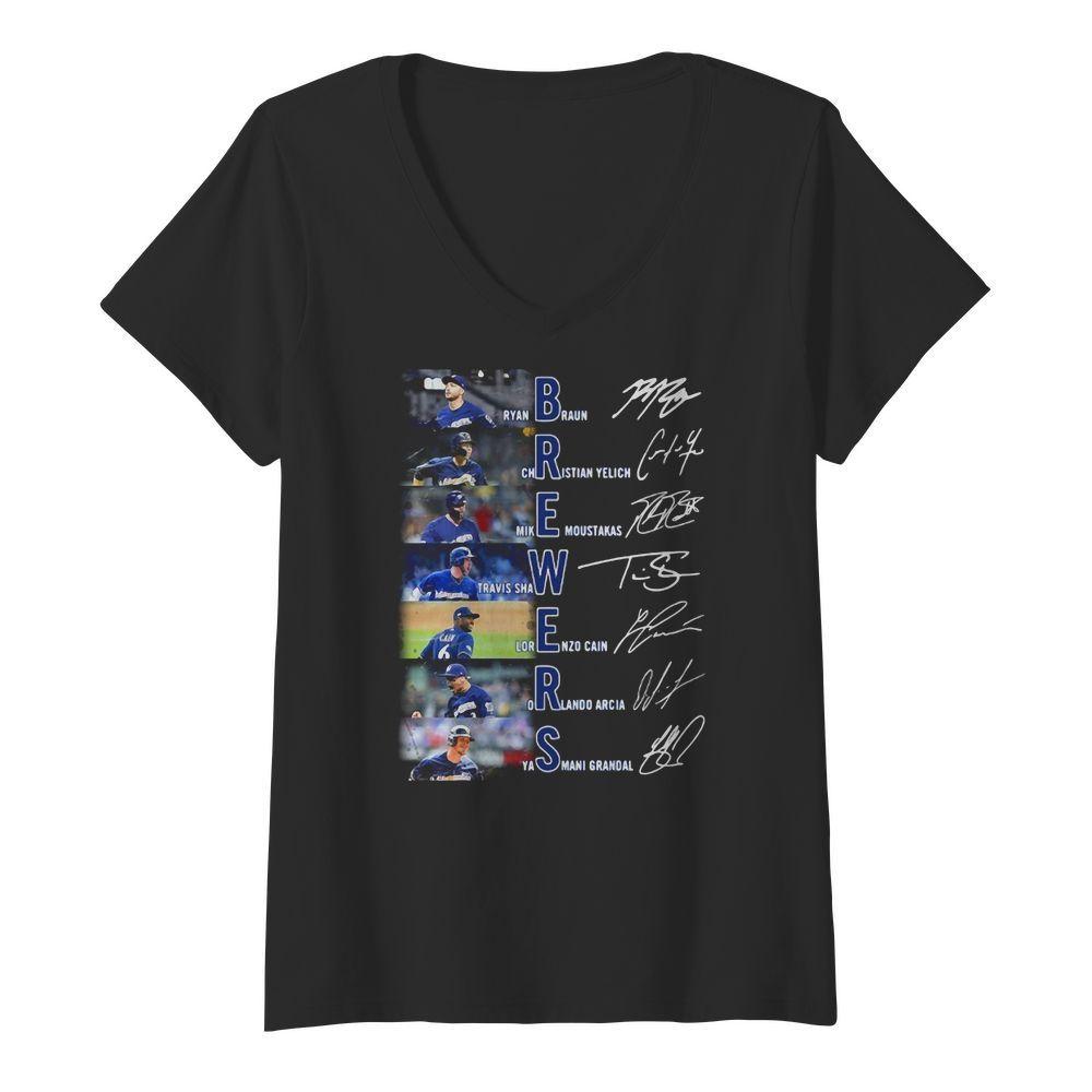 Ryan Braun Christian Yelich Mike Moustakas Travis Shaw signatures V neck t shirt