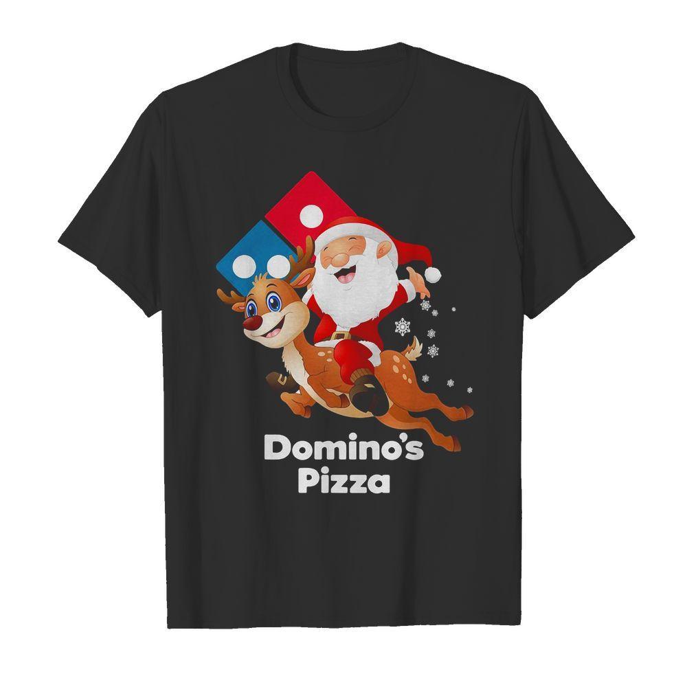 Santa Claus riding reindeer Domino's Pizza Shirt