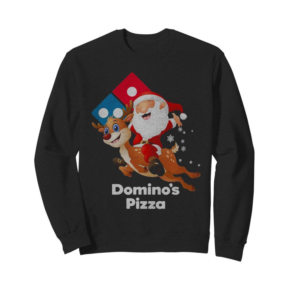 Santa Claus riding reindeer Domino's Pizza Sweater