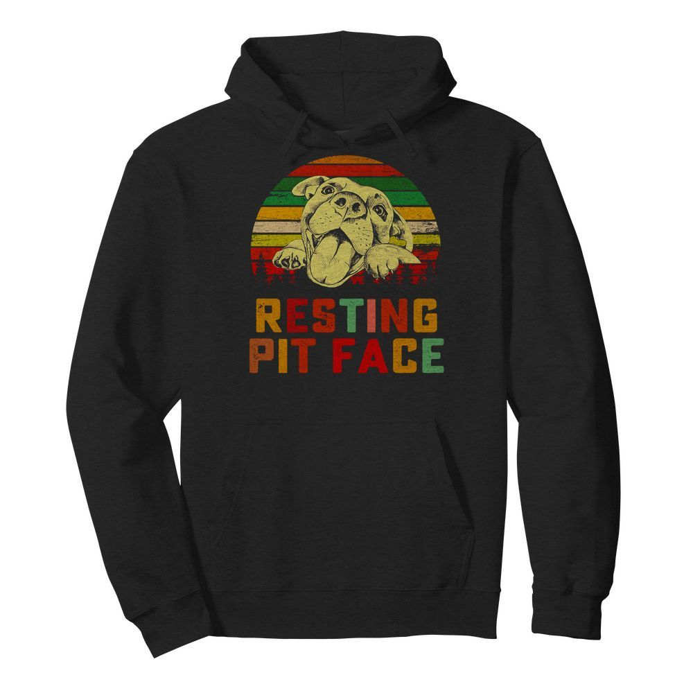 Trends Funny Dog Pitbull Resting Pit Face Hoodie