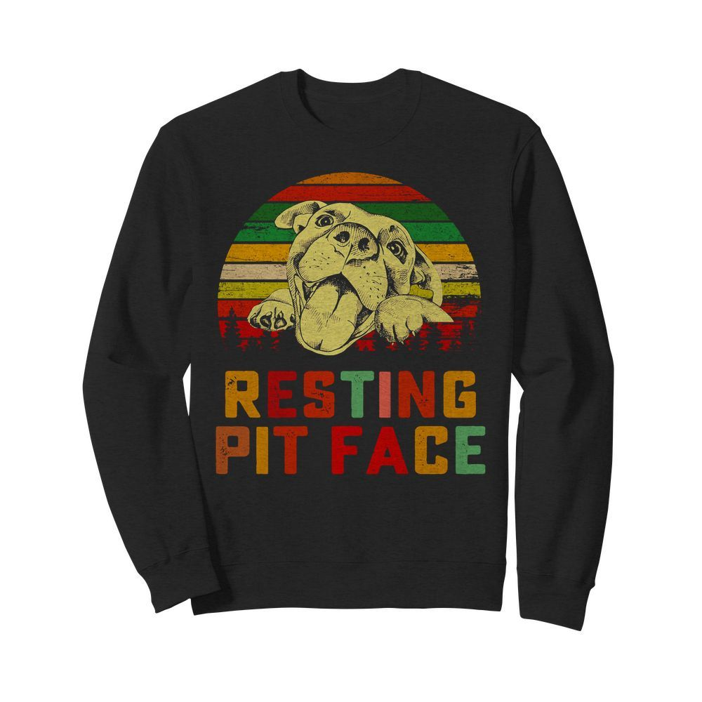 Trends Funny Dog Pitbull Resting Pit Face Sweater