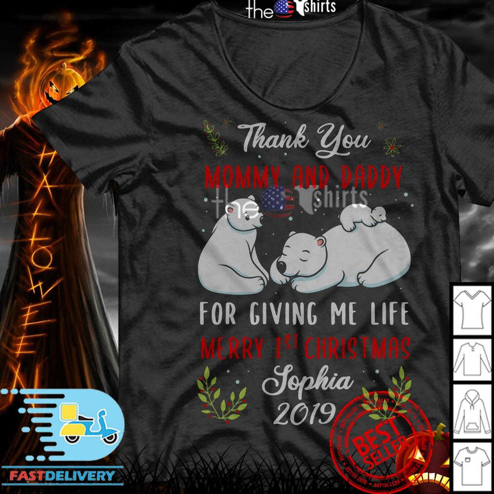 White Bear thank you Mommy and daddy for giving me life Christmas shirt