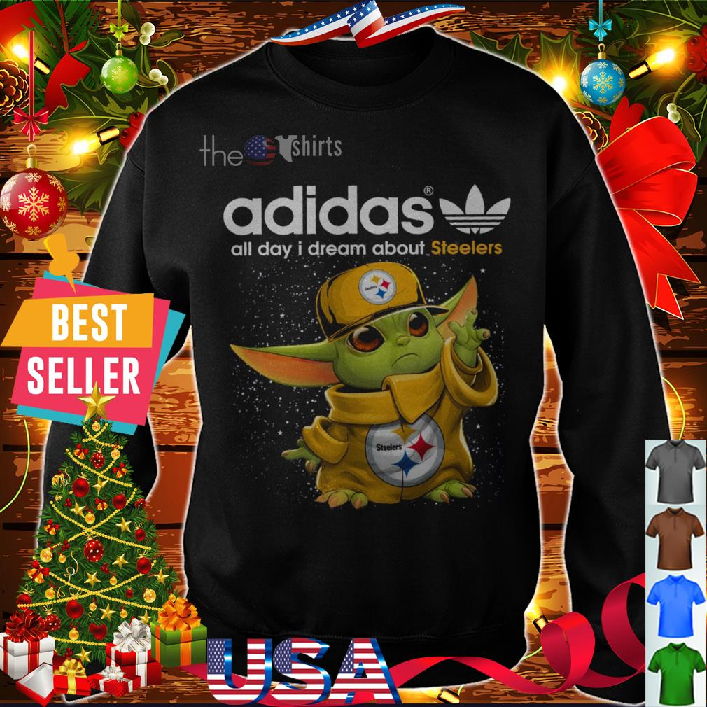 Adidas all day I dream about Steelers baby Yoda shirt