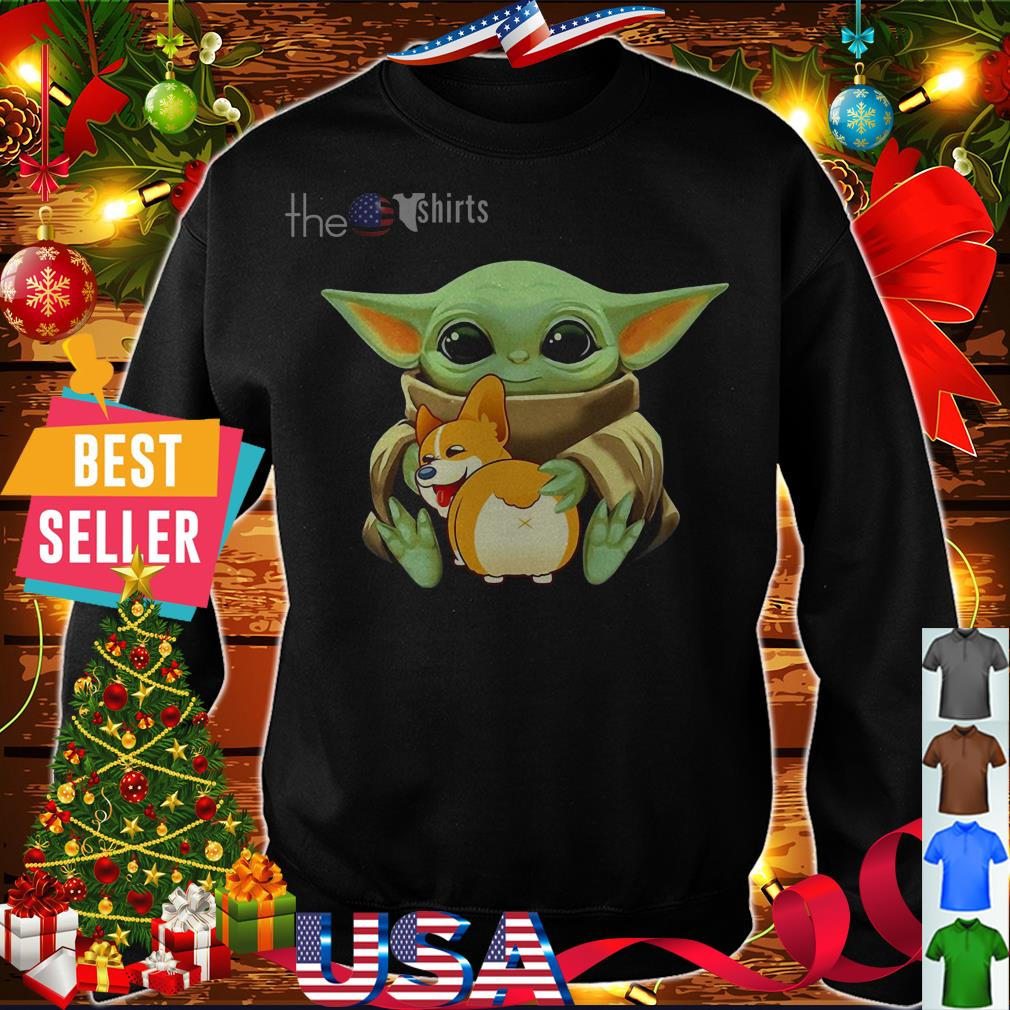 Baby Yoda hug Corgi dog shirt