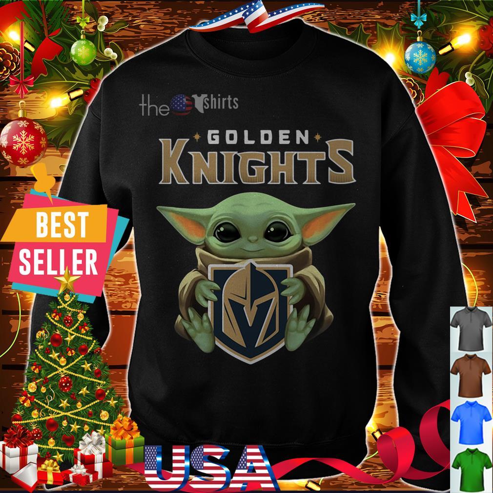 Baby Yoda hug Golden Knights shirt