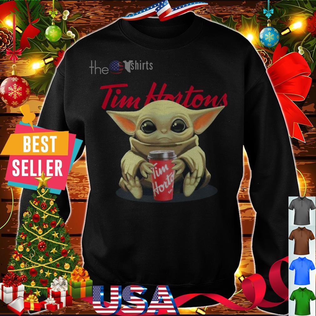 Baby Yoda hug Tim Hortons Iced Coffee shirt