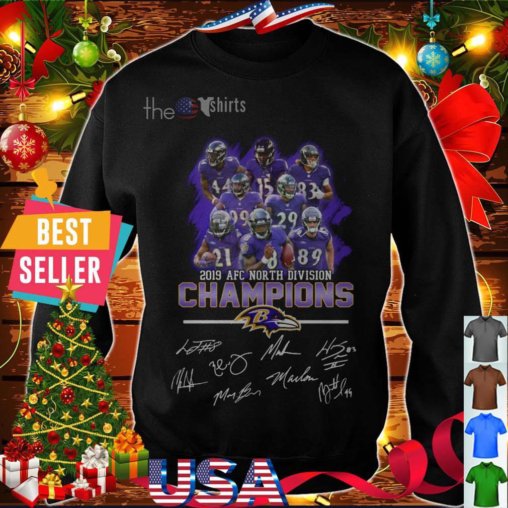 Baltimore Ravens 2019 AFC North division champions signatures shirt