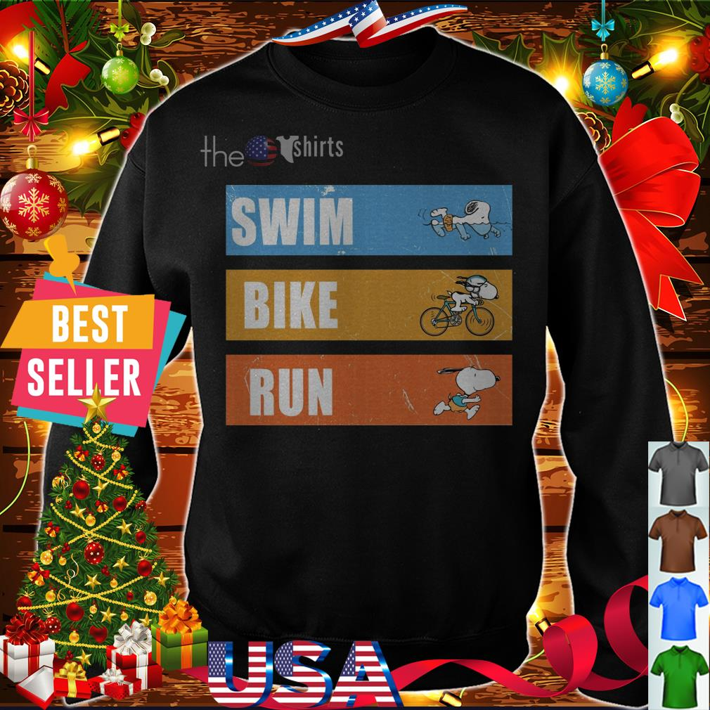Snoopy swim bike run shirt