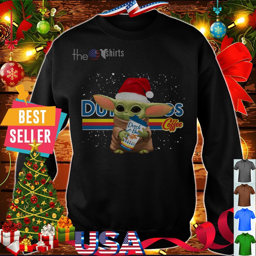 Yoda baby Santa hugs Dutch Bros coffee Christmas shirt