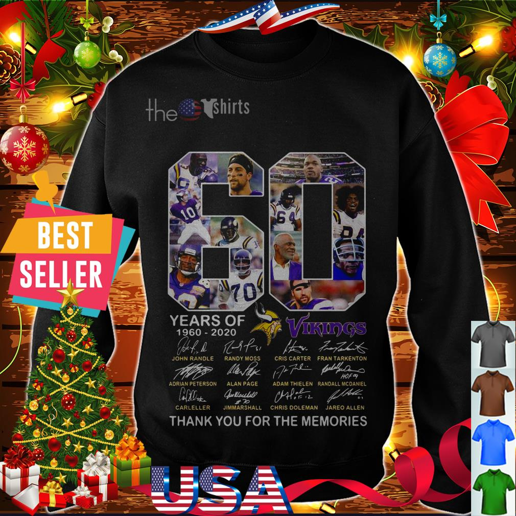60 years of 1960 2020 Vikings thank you for the memories signatures shirt