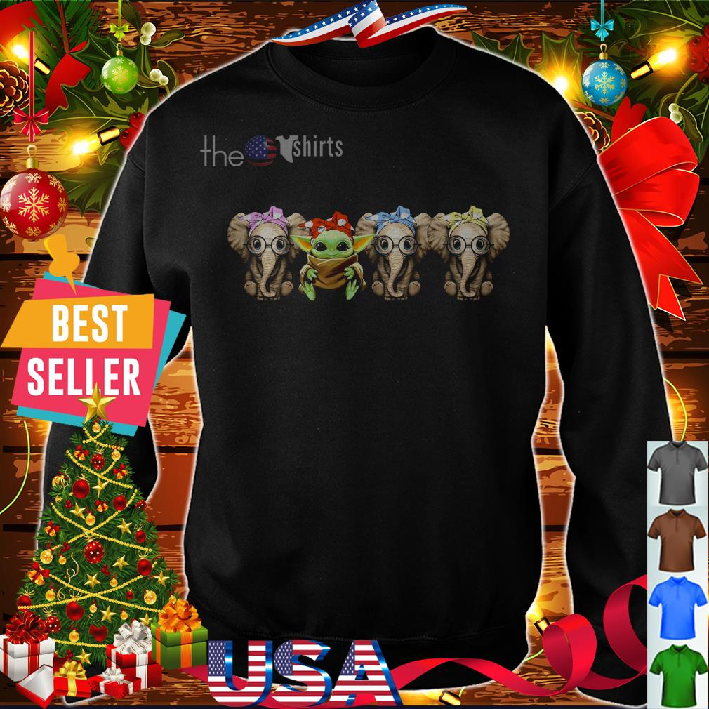 Baby Yoda and three baby elephants wearing bandana and glasses shirt