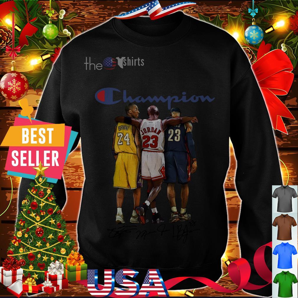 Champion Lebron James Kobe Bryant Michael Jordan signatures shirt