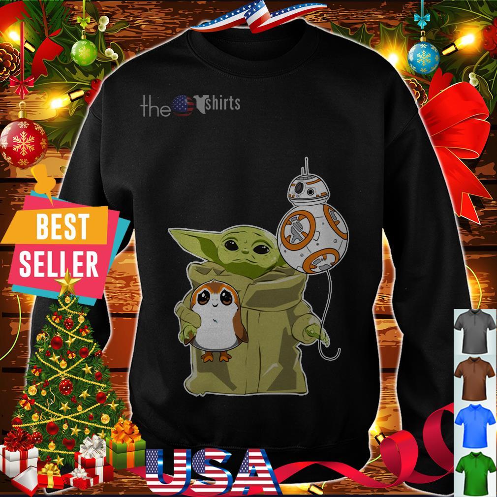 The Mandalorian Baby Yoda hug Sad Porg shirt