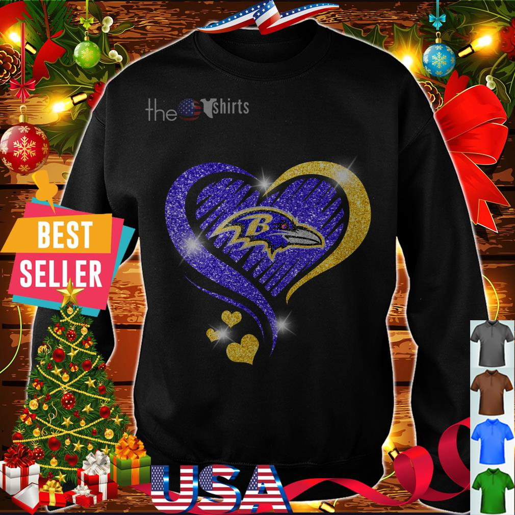 Official Glitter heart Love Baltimore Ravens team shirt