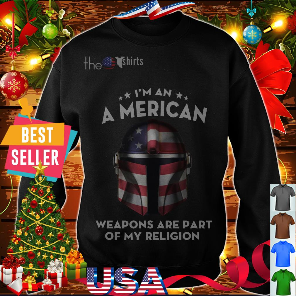 Official Mandalorian face I'm an American weapons are part of my religion shirt