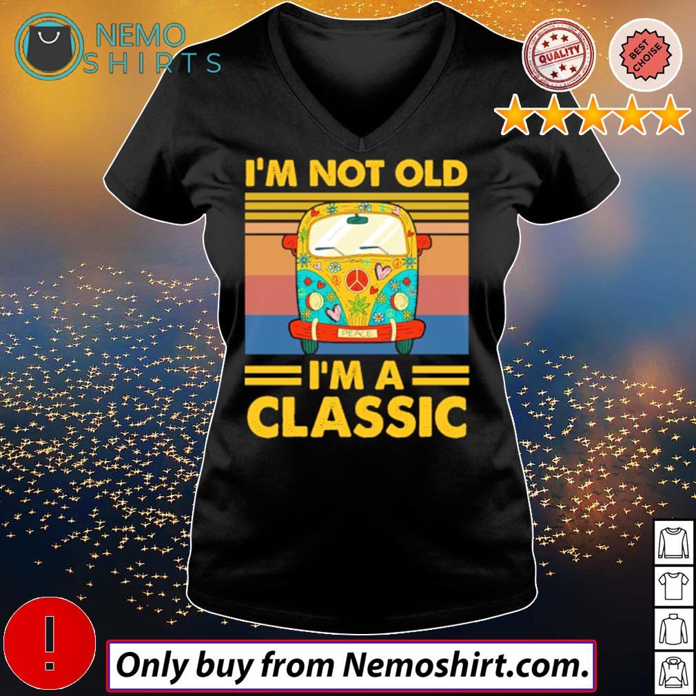 Hippie bus peace I'm not old I'm a classic s V-neck Ladies Black