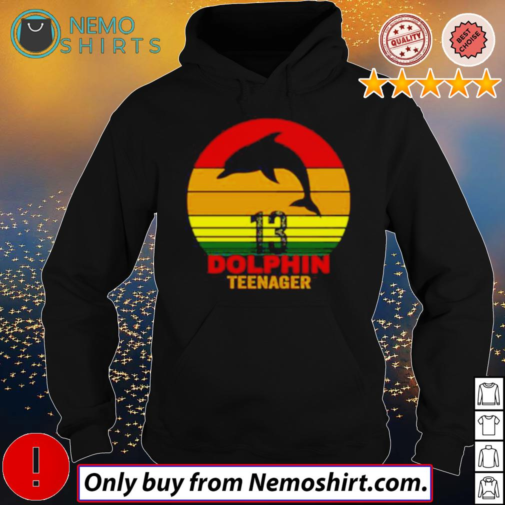 13 Dolphin teenager retro s Hoodie Black