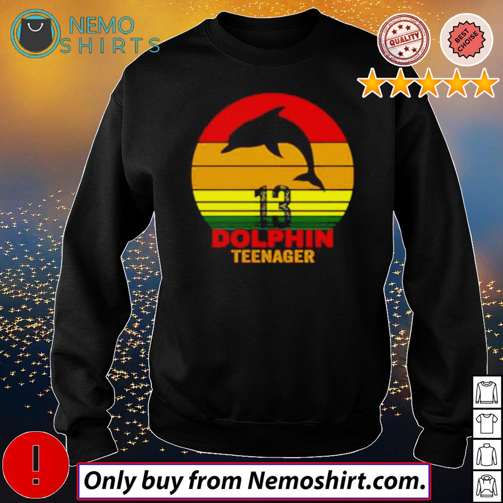 13 Dolphin teenager retro s Sweatshirt Black