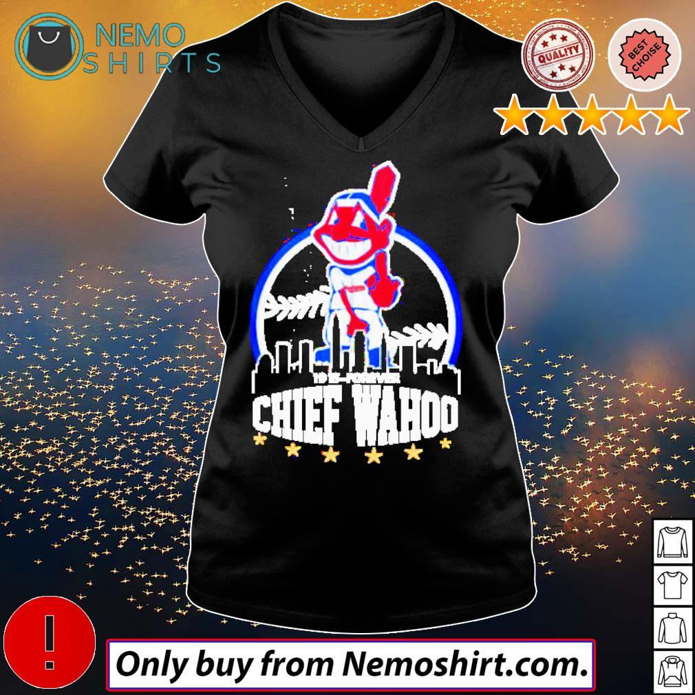 Cleveland Indians middle finger Chief Wahoo s V-neck Ladies Black