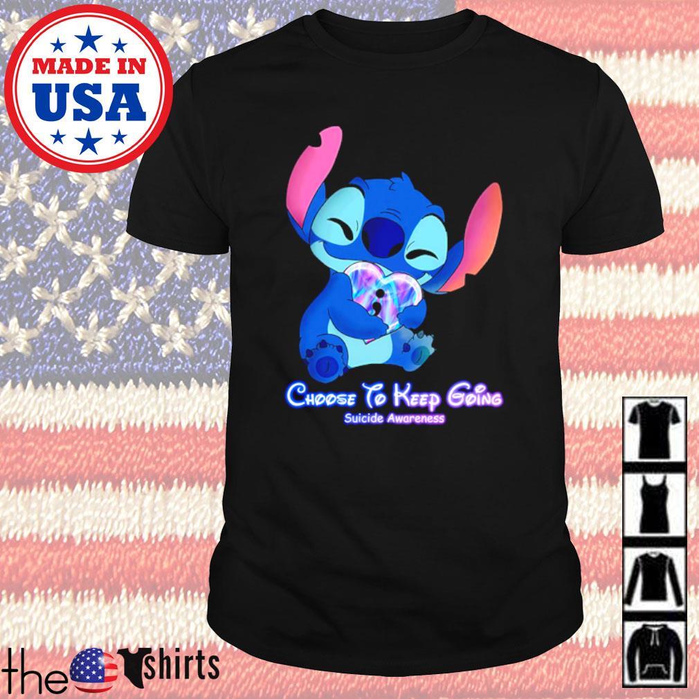 Disney Baby Stitch hug heart Choose to keep going suicide Awareness shirt