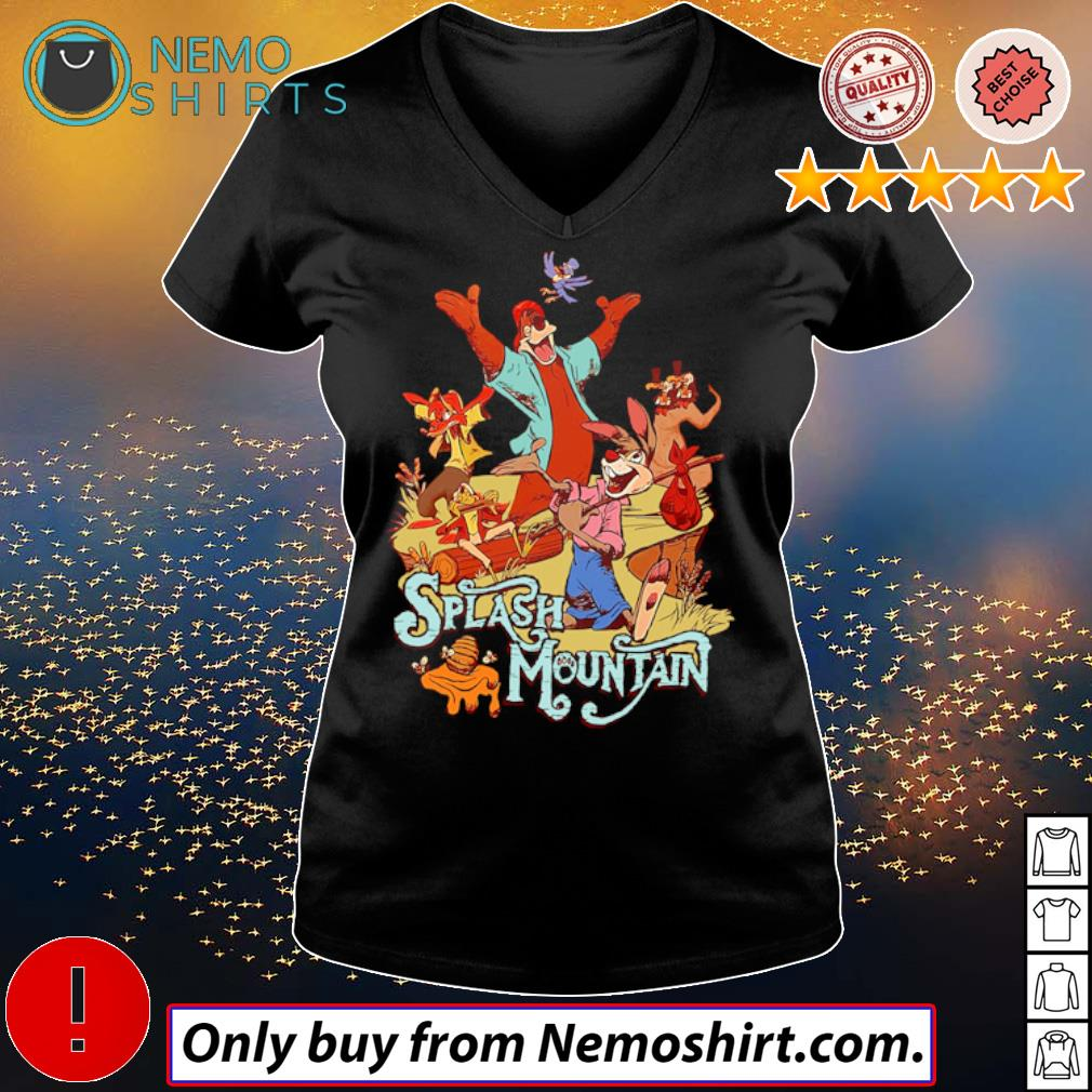 Disney world Bear rabbit Splash mountain s V-neck Ladies Black