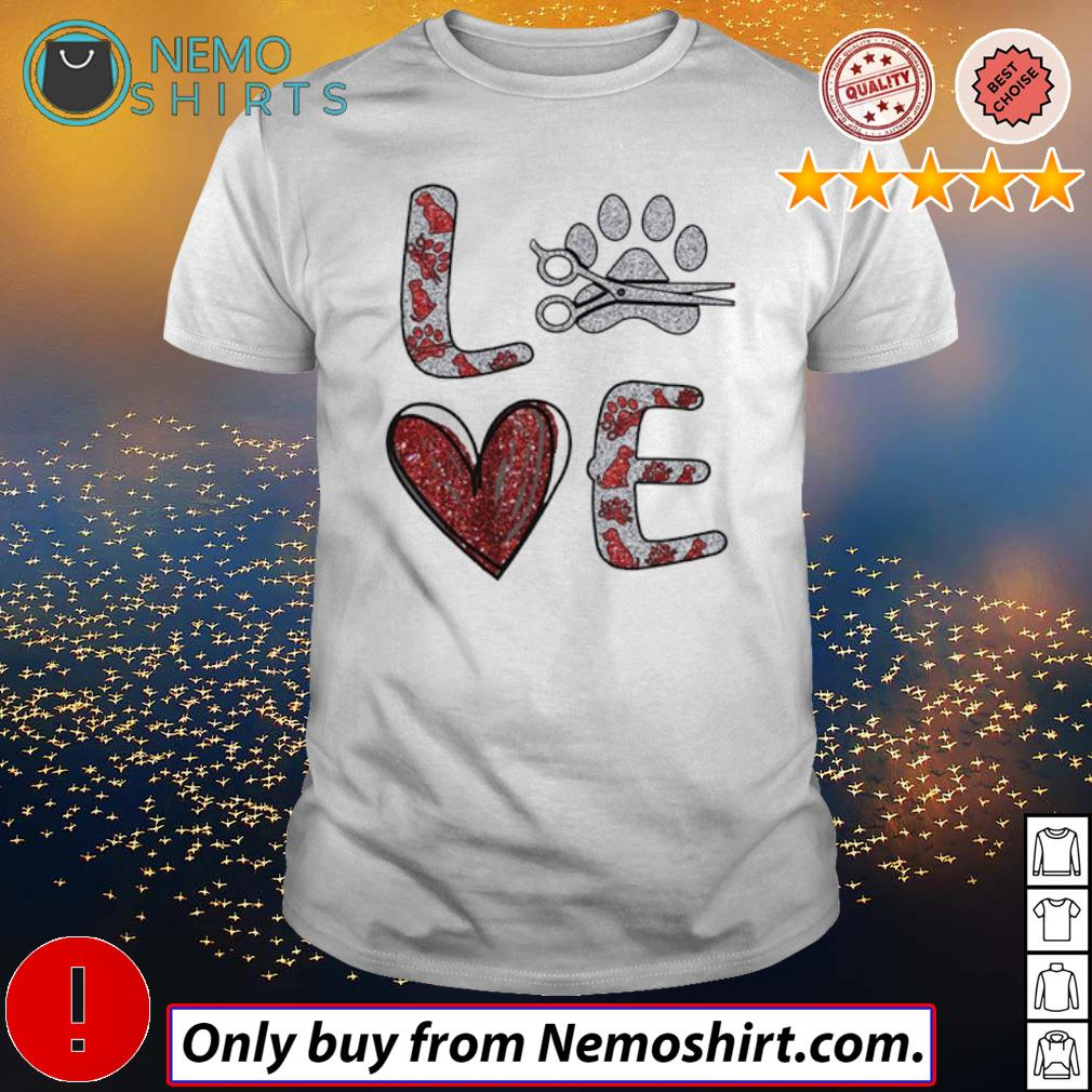 Hairstyle love paw dog shirt