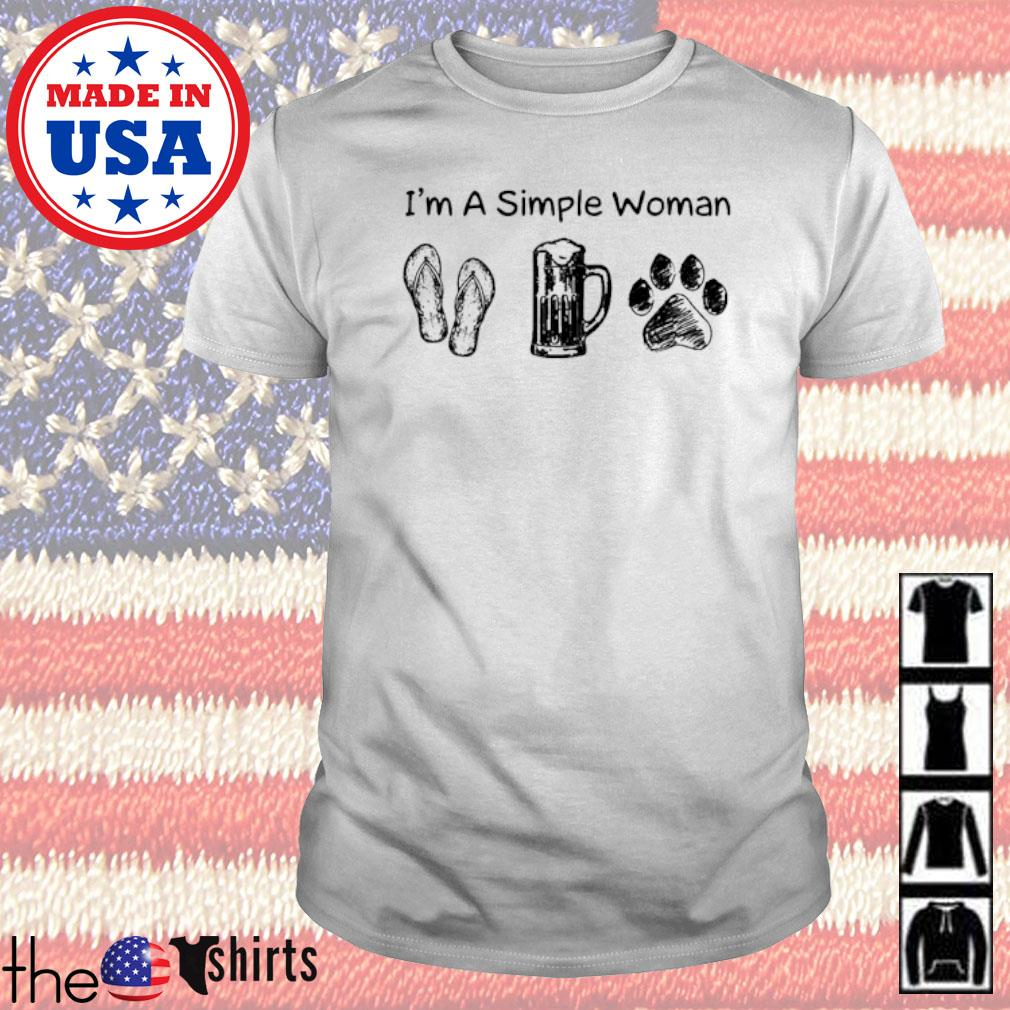 I'm a simple woman flip flops beer and paw dog shirt