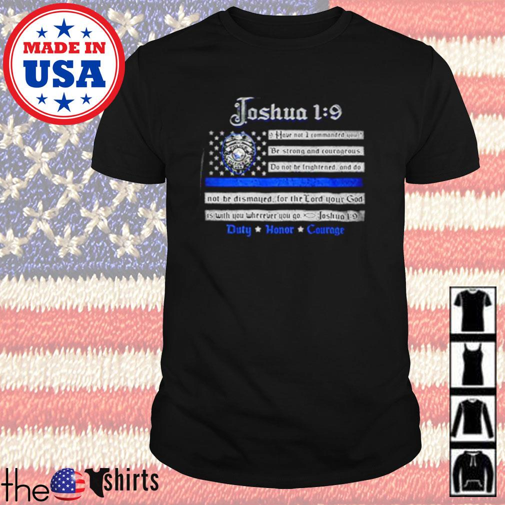 Law enforcement Joshua 19 back the blue American shirt
