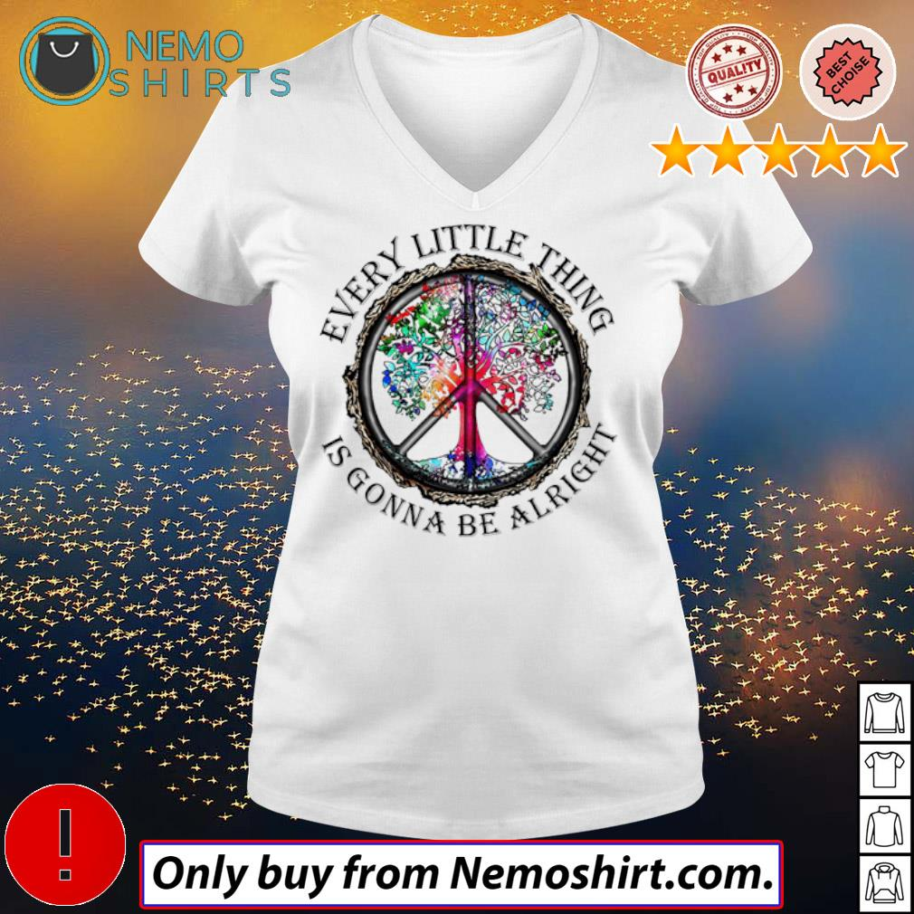 LGBT Hippie trees every little thing is gonna be alright s V-neck white
