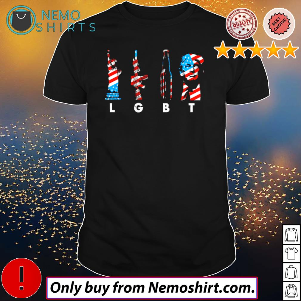 LGBT Statue of Liberty gun beer and Donald Trump 4th of July Independence Day shirt