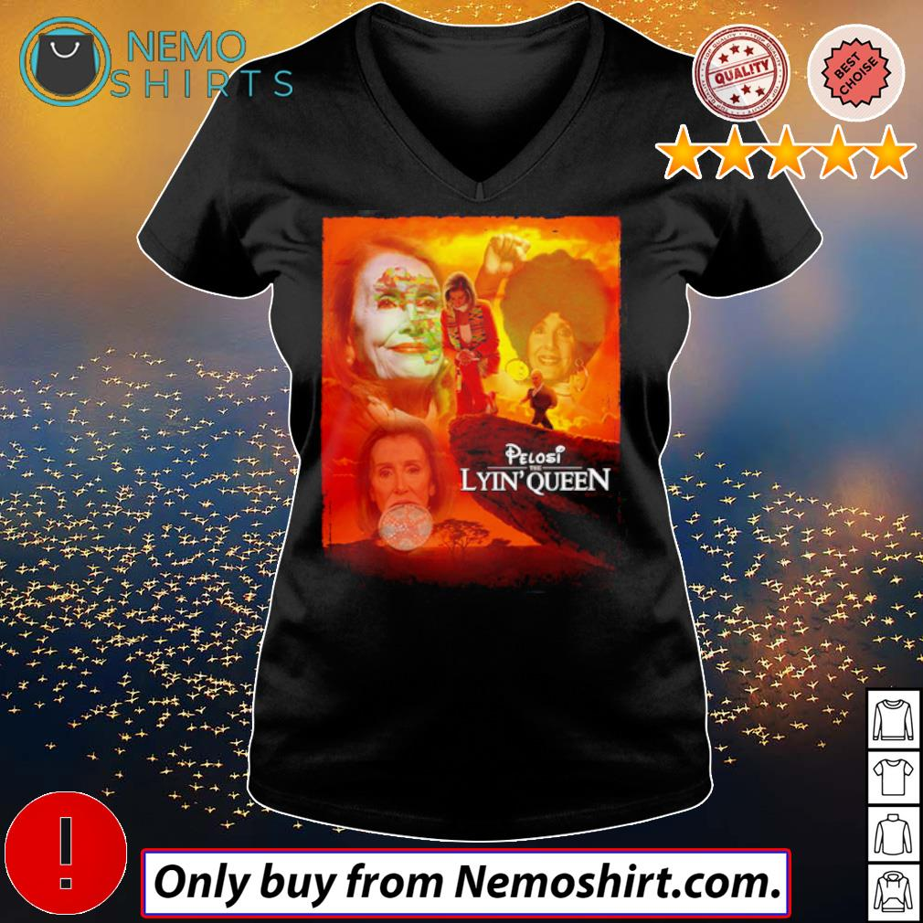 Official Pelosi the lyin' queen s V-neck Ladies Black