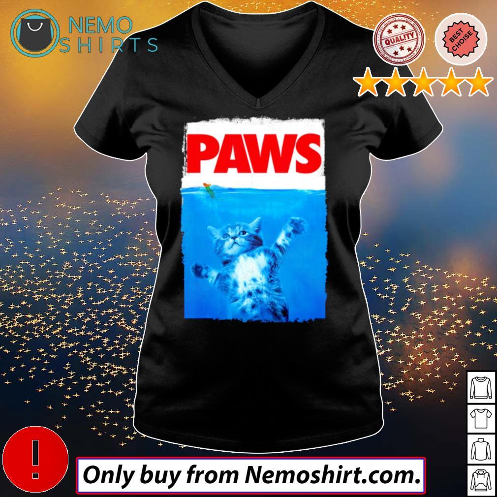 Paws Cat sea s V-neck Ladies Black