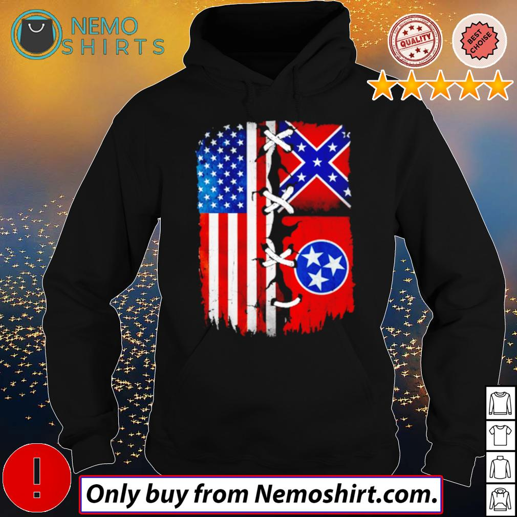 Tennessee Mississippi and USA Flag 4th of July s Hoodie Black