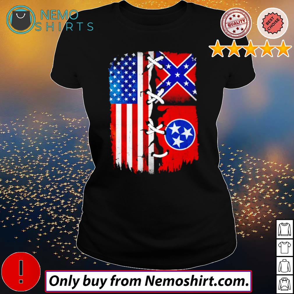 Tennessee Mississippi and USA Flag 4th of July s Ladies Black
