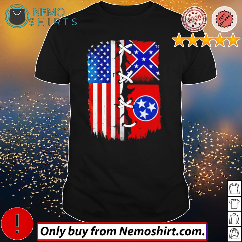 Tennessee Mississippi and USA Flag 4th of July shirt