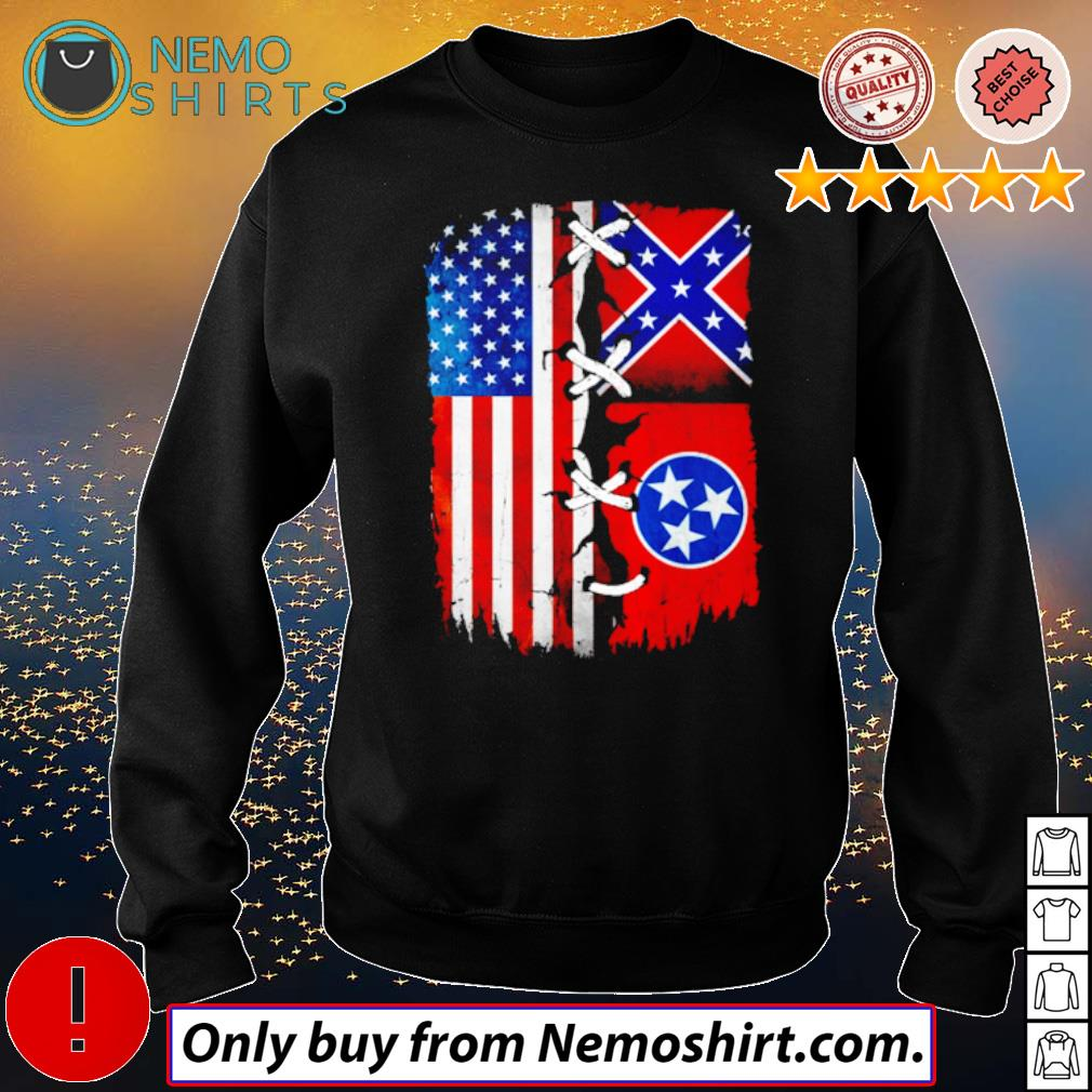 Tennessee Mississippi and USA Flag 4th of July s Sweatshirt Black